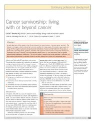 Cancer survivorship: living with or beyond cancer - RCN Publishing