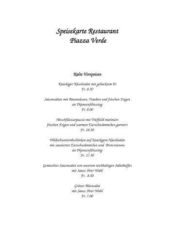 Speisekarte Restaurant Piazza Verde Kalte Vorspeisen