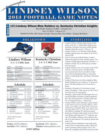 football game notes - Lindsey Wilson College Athletics
