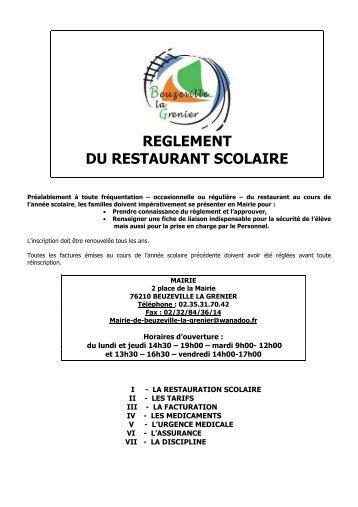 Reglement restauration scolaire - Bienvenue à Beuzeville la Grenier