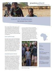Projektblatt Zambuko Haus - Jesuitenmission
