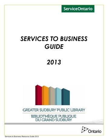 Services to Business Guide - Greater Sudbury Public Library