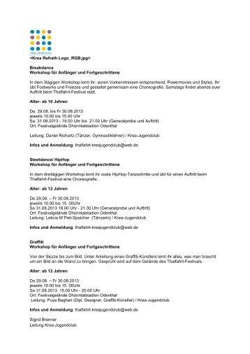 Workshop-Programm - Kulturregion Bergisches Land
