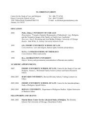 Curriculum Vitae - Center for the Study of Law and Religion - Emory ...