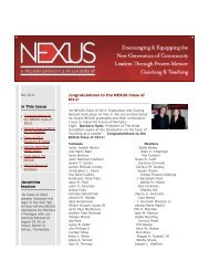 In This Issue Upcoming Session Congratulations to ... - nexus leaders