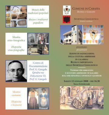 Caraffa, 12/1/2008 - Azioni di salvaguardia della cultura arbëreshe ...