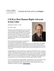 CSLR to Host Human Rights Advocate Irwin Cotler - Center for the ...