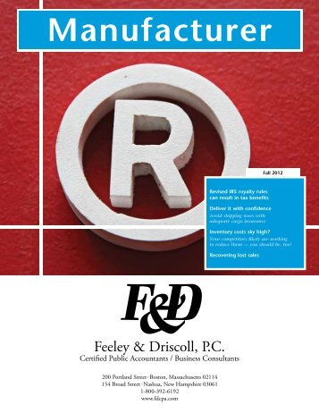 Manufacturer Accounting Newsletter - Feeley & Driscoll PC