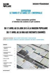 Dossier pédagogique Le Tamis et le sable 2/3 ... - Maison Populaire