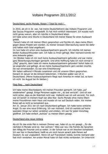 Erfahrungsbericht zum Voltaire-Austauschprogramm