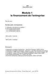 Module 1 le financement de l'entreprise