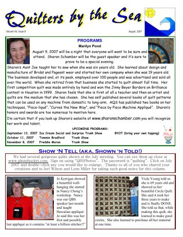 August 2007 Newsletter - Quilters by the Sea