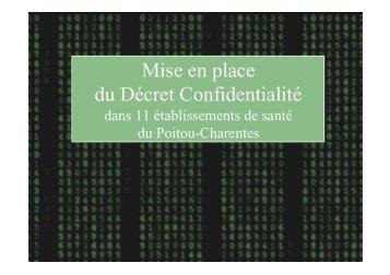 Mise en place du Décret Confidentialité - ARS Poitou-Charentes