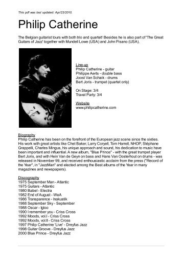 Philip Catherine - Nova Concerts International