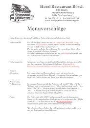 Menüvorschläge für Anlässe ab 10 Personen - Restaurant Rössli ...