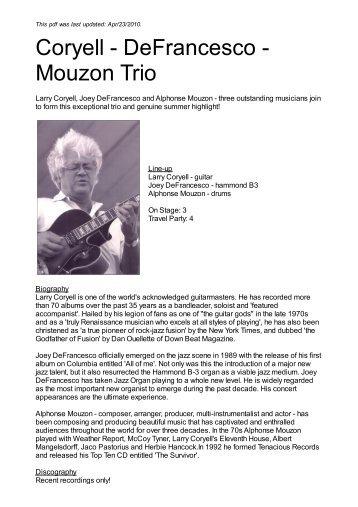 Coryell - DeFrancesco - Mouzon Trio - Nova Concerts International