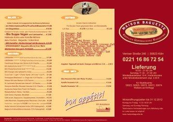 0221 16 86 72 54 Lieferung - Maison Baguette