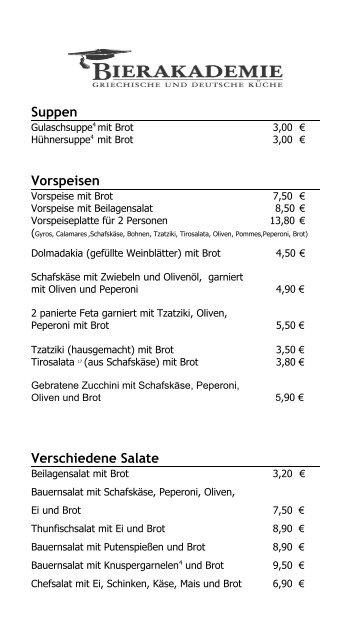 Suppen Vorspeisen Verschiedene Salate - Bierakademie Korntal
