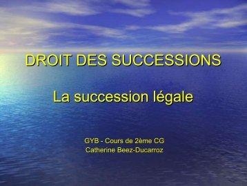 DROIT DES SUCCESSIONS La succession légale
