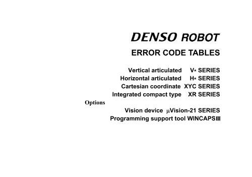 ERROR CODE TABLES - DENSO Robotics