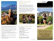 School of Education WISE - University of Colorado Foundation