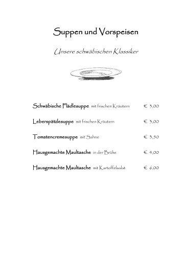 Suppen und Vorspeisen - Landgasthof Adler Kohlstetten