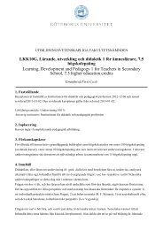 LKK10G, Lärande, utveckling och didaktik 1 för ämneslärare, 7,5 ...