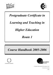 PGCert Handbook - Staff and Departmental Development Unit