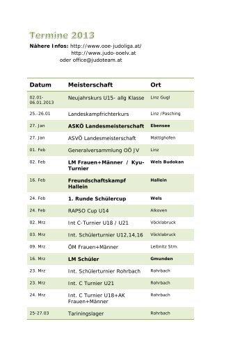 Terminkalender 2013 - Judoteam Salzkammergut