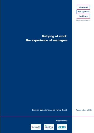 Bullying at work - Chartered Management Institute