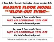 massive floor model ***blow-out event - Coast Wholesale Appliances