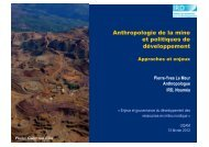 Anthropologie de la mine et politiques de développement