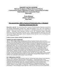 Press Release - 24 July 2011 - Sangeet Natak Akademi