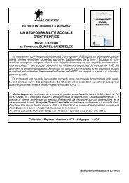 LA RESPONSABILITÉ SOCIALE D'ENTREPRISE - Chaire de ...