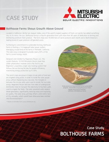 CASE STUDY BOLTHOUSE FARMS - Mitsubishi Electric