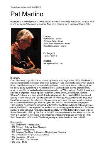 Pat Martino - Nova Concerts International
