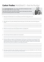 Carbon Tradies: Worksheet 2 – Pete the Plumber - Savewater