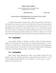 Press Release of annoucement of Yuva Puraskar - Sangeet Natak ...