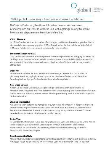 NetObjects Fusion 2013 - Features und neue Funktionen - PresseBox