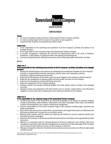 Theatre Scene Shop Manager Job Description Position Summary