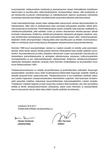 Asukasyhdistyksen lausunto yleiskaavaluonnoksesta - anttilanmaki.fi