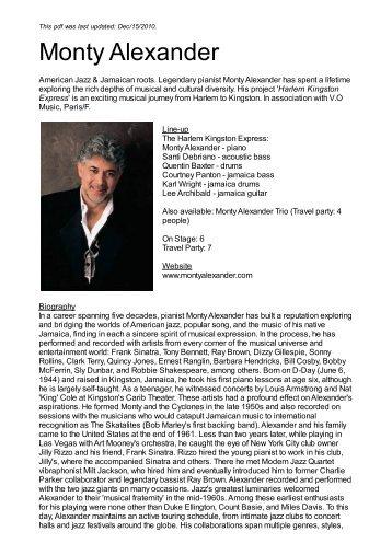 Monty Alexander - Nova Concerts International