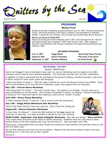 June 2007 Newsletter - Quilters by the Sea