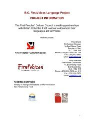 B.C. FirstVoices Language Project PROJECT ... - First Peoples