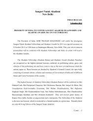 Presentation of Sangeet Natak Akademi Fellowships and Awards for ...