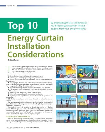 Top 10 Energy Curtain Installation Considerations