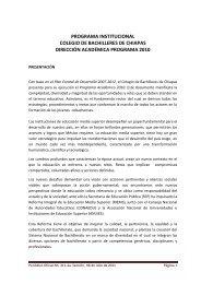 Programa Institucional del Colegio de Bachilleres de Chiapas