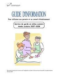 Service de garde en milieu scolaire Année scolaire 2007-2008
