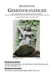 adlershofer gemeindeanzeiger - Evangelische Kirchengemeinde ...