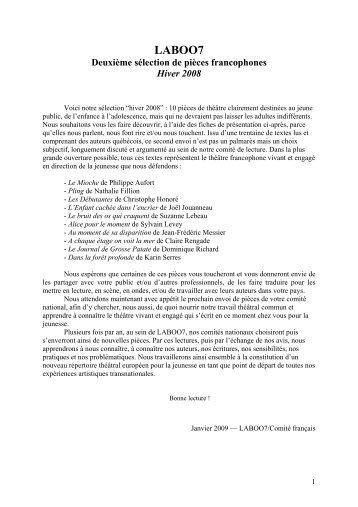 2ème sélection des textes francophones 2008 - Entr'Actes - SACD